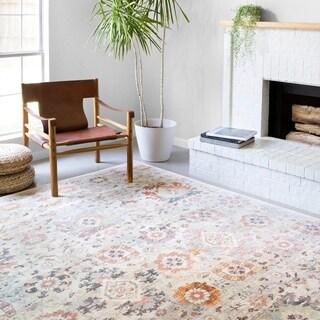 Alexander Home Jennifer Collection Floral & Botanical Motif Distressed Area Rug