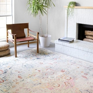 Alexander Home Jennifer Collection Bohemian Distressed Area Rug