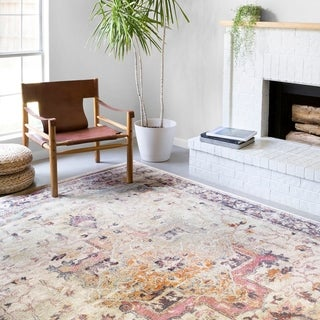 Alexander Home Jennifer Collection Bohemian Medallion Distressed Area Rug