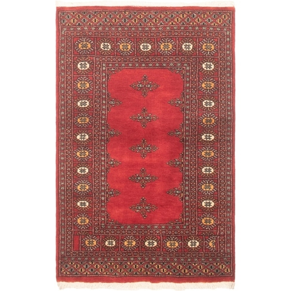 eCarpetGallery Hand-knotted Finest Peshawar Bokhara Red Wool Rug - 3'2 x 4'11