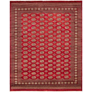 eCarpetGallery  Hand-knotted Finest Peshawar Bokhara Red Wool Rug - 8'0 x 9'11