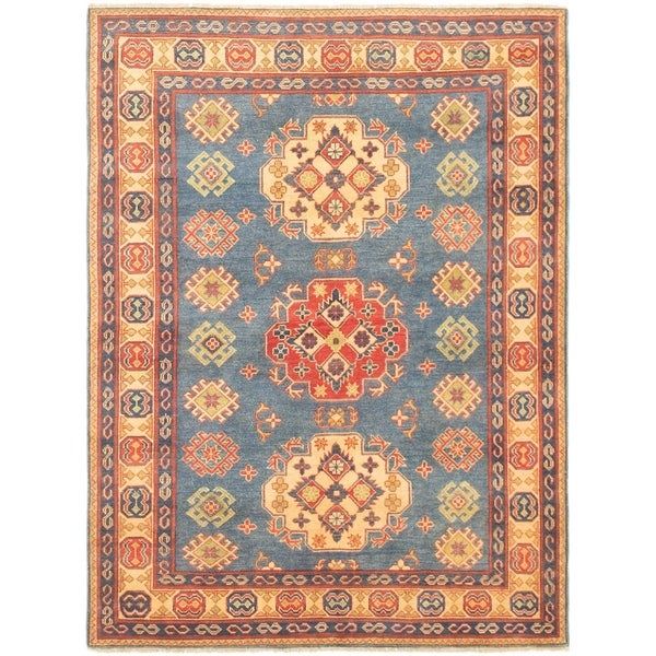 eCarpetGallery Hand-knotted Finest Gazni Blue Wool Rug - 4'1 x 6'8