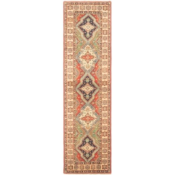 eCarpetGallery Hand-knotted Finest Gazni Cream, Dark Copper Wool Rug - 2'5 x 9'4
