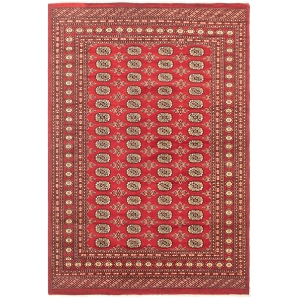 eCarpetGallery Hand-knotted Finest Peshawar Bokhara Red Wool Rug - 5'11 x 8'7