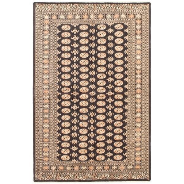 eCarpetGallery Hand-knotted Finest Peshawar Bokhara Black Wool Rug - 5'11 x 8'11