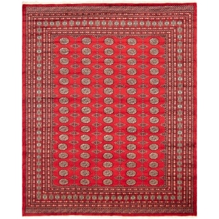 eCarpetGallery  Hand-knotted Finest Peshawar Bokhara Red Wool Rug - 8'2 x 10'0
