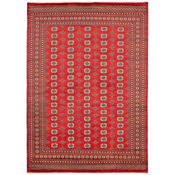 eCarpetGallery Hand-knotted Finest Peshawar Bokhara Red Wool Rug - 8'1 x 11'4