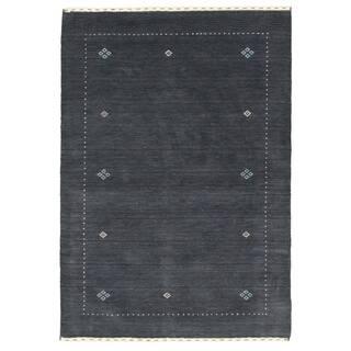 eCarpetGallery Hand-knotted Kashkuli Gabbeh Dark Grey Rug - 4'0 x 6'0
