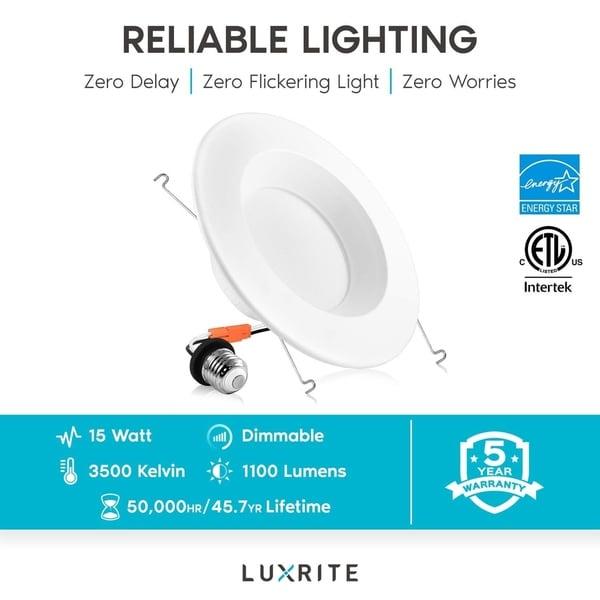 "5//6/"" 15W LED Retrofit Downlight Baffle Trim Recessed Dimmable ETL"