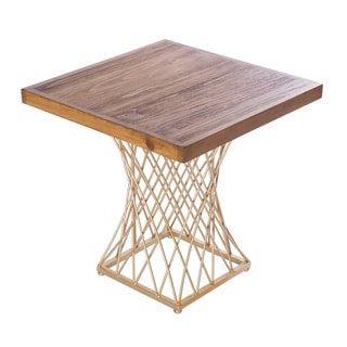 Modern Square Wood and Gold Metal Side Table