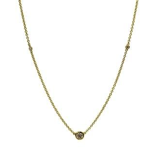 18K Yellow Gold 1 2ct TDW Diamond Station Necklace Y Z VS SI White