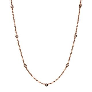 18K Rose Gold 1 2ct TDW Diamond Station Necklace H VS SI White