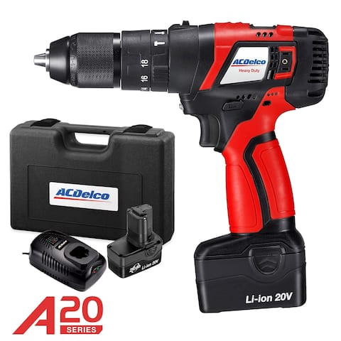 ACDelco A20 BRUSHLESS 20V Li-ion 2-Speed cordless Hammer Drill Kit, max. 500 in-lbs, 2 Battery Packs, ARK20129