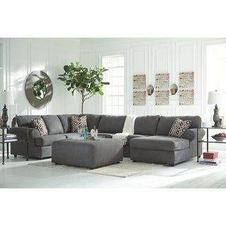 Jayceon 4-Piece Modern Sectional with Ottoman - Steel