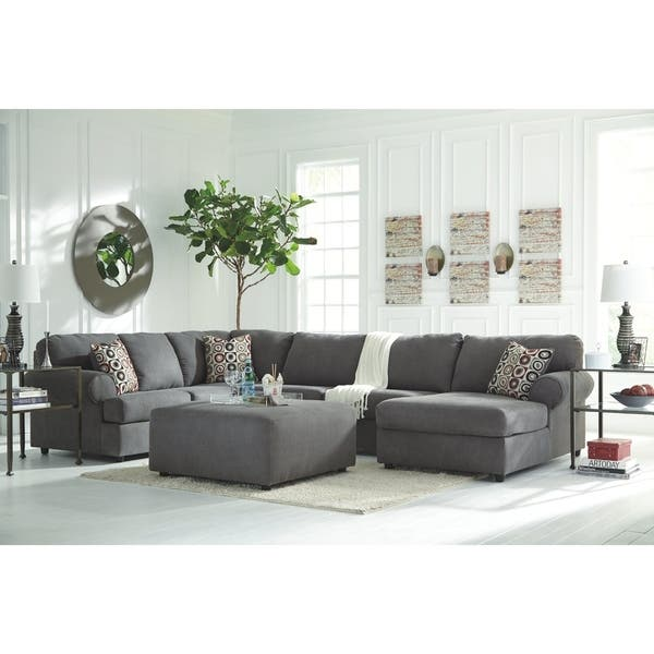 Astonishing Jayceon 4 Piece Modern Sectional With Ottoman Steel Pabps2019 Chair Design Images Pabps2019Com