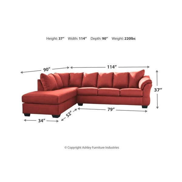 Shop Darcy 2-Piece Contemporary Sectional with Chaise - Red ...