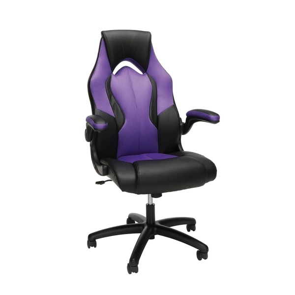 OFM Essentials Collection High-Back Racing Style Bonded Leather Gaming Chair, in Purple (ESS-3086-PUR)