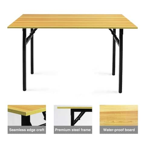 Folding Multi Purpose Desk Personal Fully Assembled Work Station Natural Wood Tone