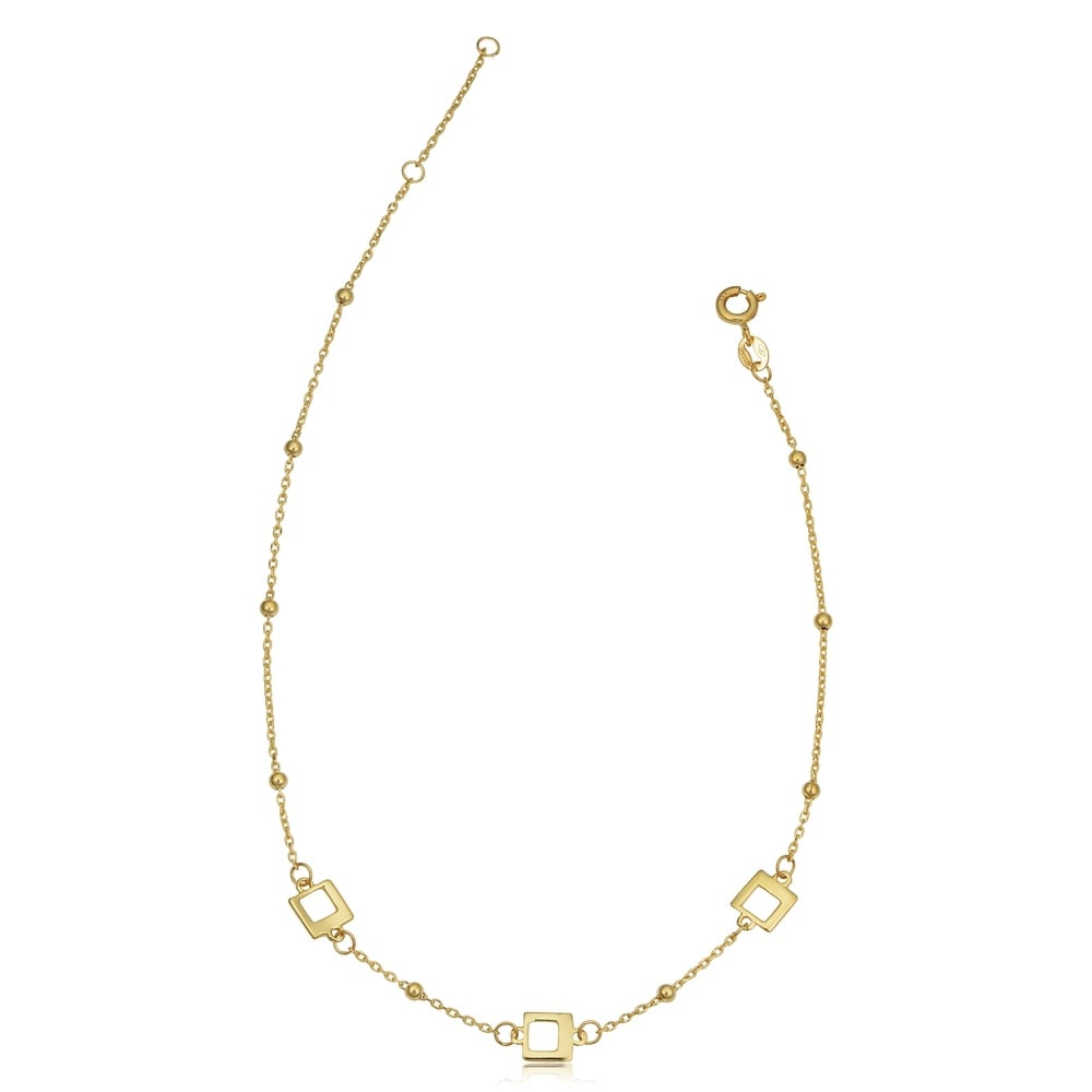14k Yellow Gold Square and Bead Station Adjustable Length Anklet (adjusts to 9 or 10 inches)