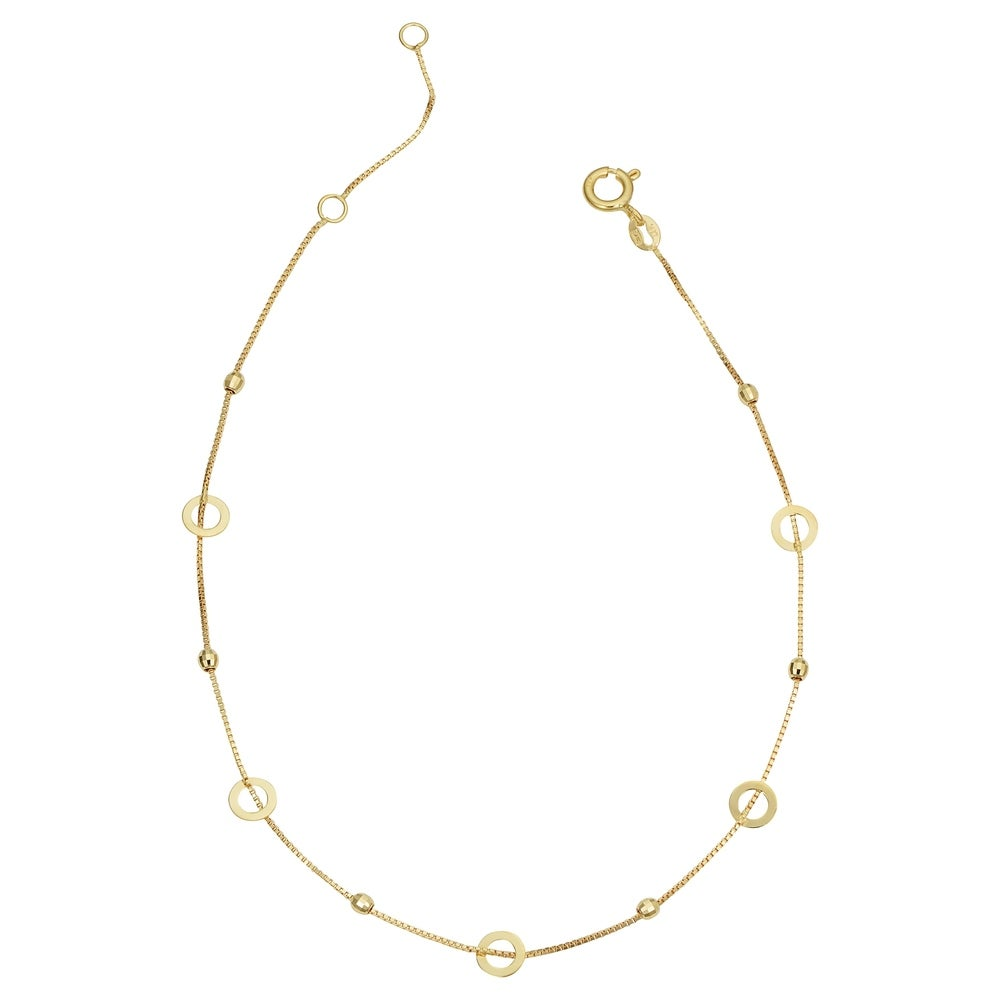 14k Yellow Gold Circles and Diamond-cut Beads Station Anklet (adjusts to 9 or 10 inches)