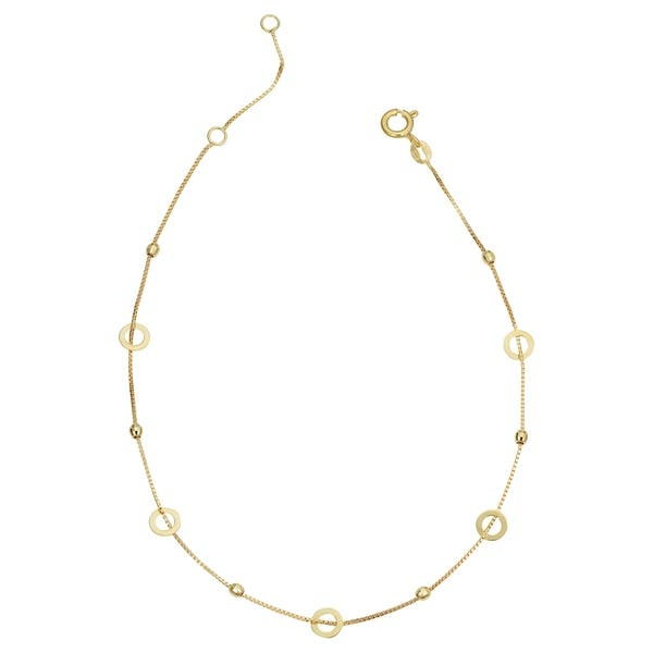 Real 14kt Yellow Gold 3 Hearts w//1 inch Extension Anklet; 10 inch