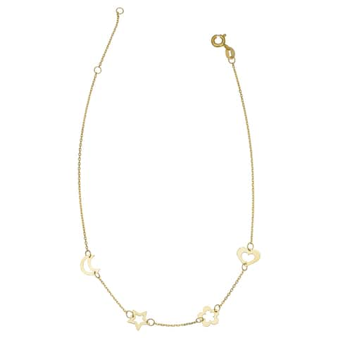 14k Yellow Gold Moon Heart Flower Star Station Anklet (adjusts to 9 or 10 inches)
