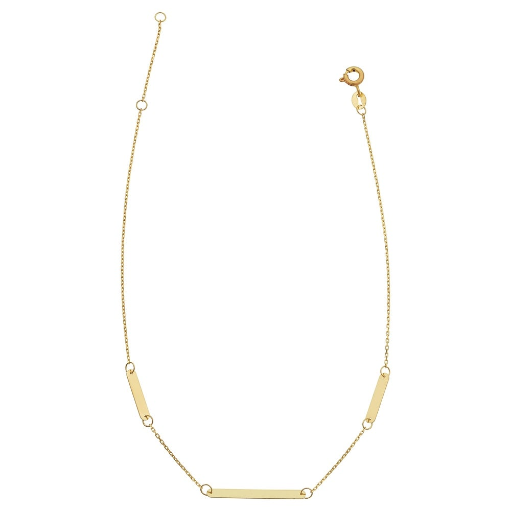 14k Yellow Gold Bar Station Adjustable Length Anklet (adjusts to 9 or 10 inches)
