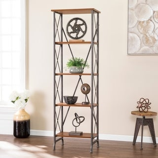 Carbon Loft Tanille Industrial Brown Wood Bookshelf