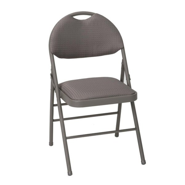 COSCO Commercial Comfort Back Taupe Fabric Folding Chair with Handle Hole (4 Pack) - Set of 4. Opens flyout.