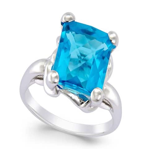 Pearl Lustre Faceted Blue Topaz Gemstone In Sterling Silver Ring.