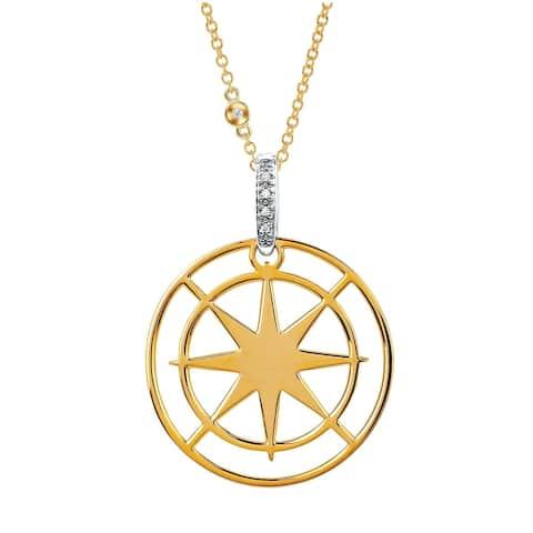 14 Karat Yellow & White Gold Diamond Star Disk Pendant with Chain