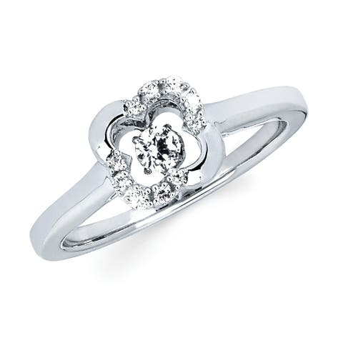 Brilliance in Motion Sterling Silver 1/6cttw Diamond Clover Ring