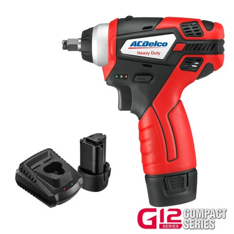 "ACDelco G12 Compact 12V Li-ion Cordless 3/8"" Impact Wrench, 90 ft-lbs torque, 2 Batteries Kit, ARI12104"