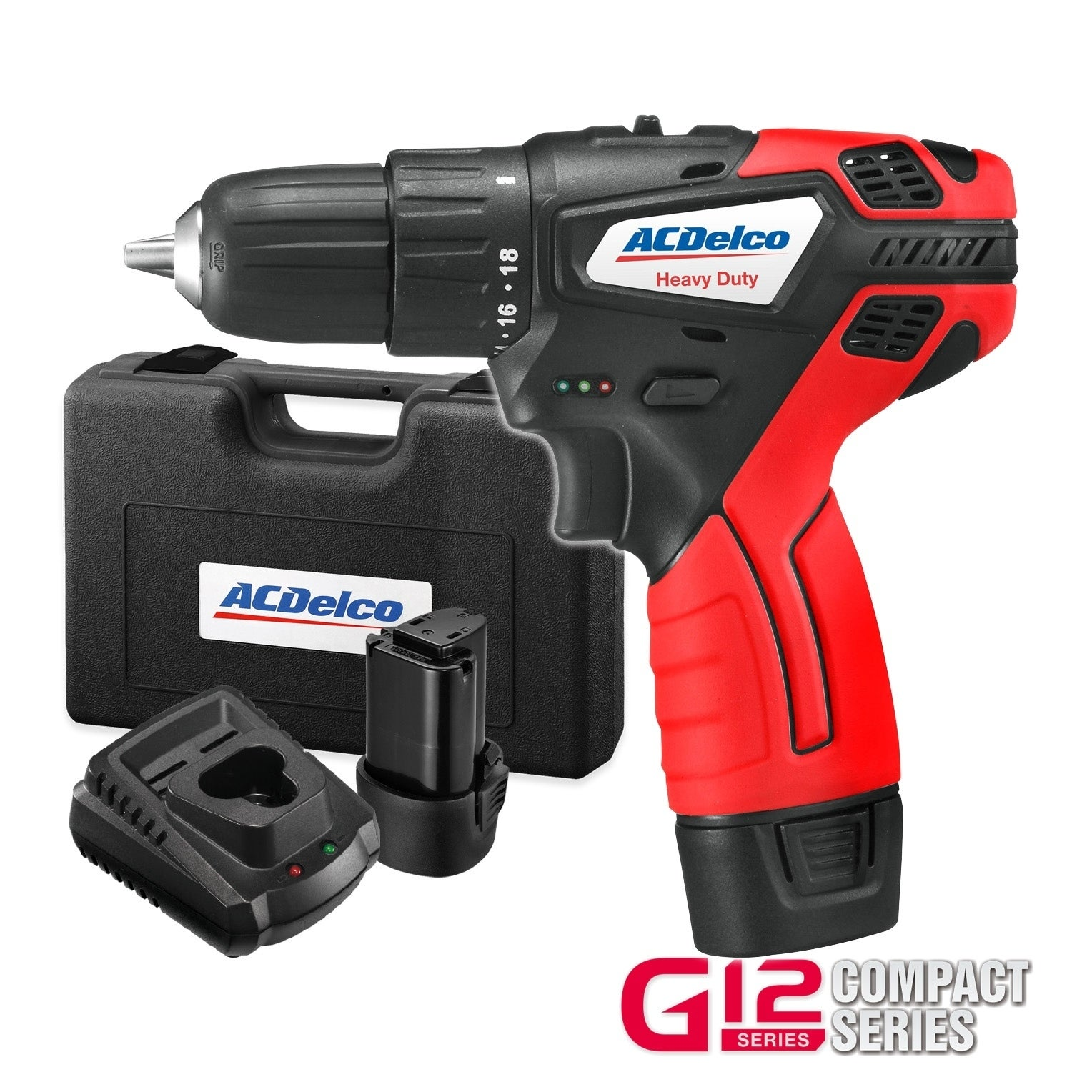 Charger ACDelco G12 Series 12V Cordless 3 Mini Polisher Tool Set with 2 Li-ion Batteries and Accessory Kit ARS1212