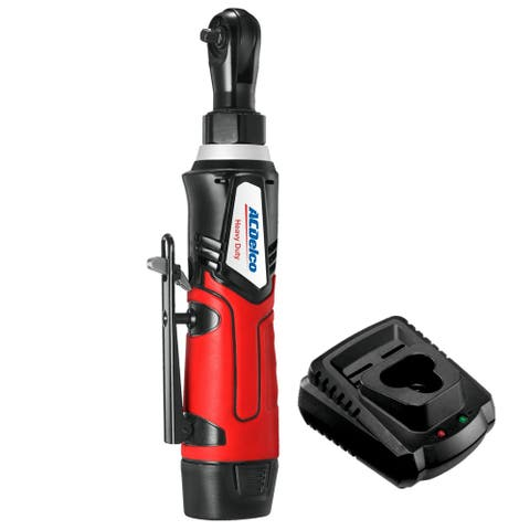 """ACDelco G12 Cordless 12V Angled 1/4"""" Ratchet Wrench 30 ft-lb Torque Tool Set w/Batteries, ARW1207"""