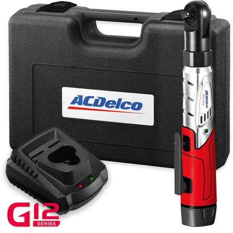 "ACDelco G12 Cordless 3/8"" Ratchet Wrench 12V Angled 55 ft-lb Tool Set with 1 Li-ion Batteries - Charger, ARW1208"