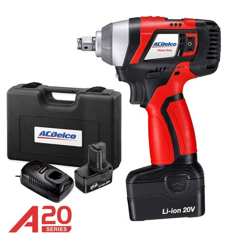 "ACDelco A20 BRUSHLESS 20V Li-ion 1/2"" cordless Impact Wrench Kit, max. 320 ft-lbs Torque, 2 Battry Packs, ARI20156"