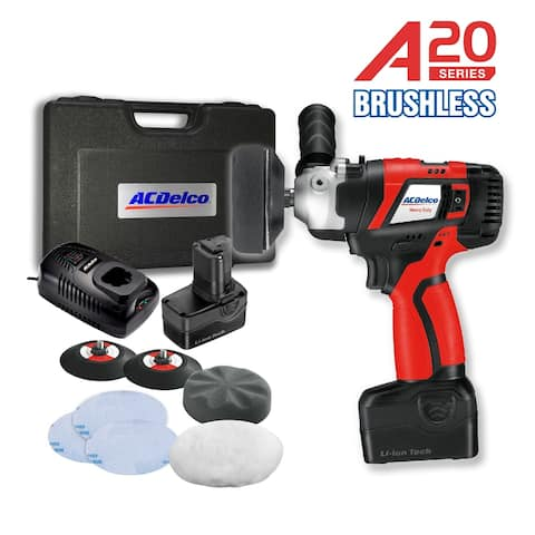"ACDelco A20 BRUSHLESS 20V Li-ion cordless 2-Speed 3"" cordless Mini Polisher Kit, 2 Battery Packs, Quick Charger, ARS2016"