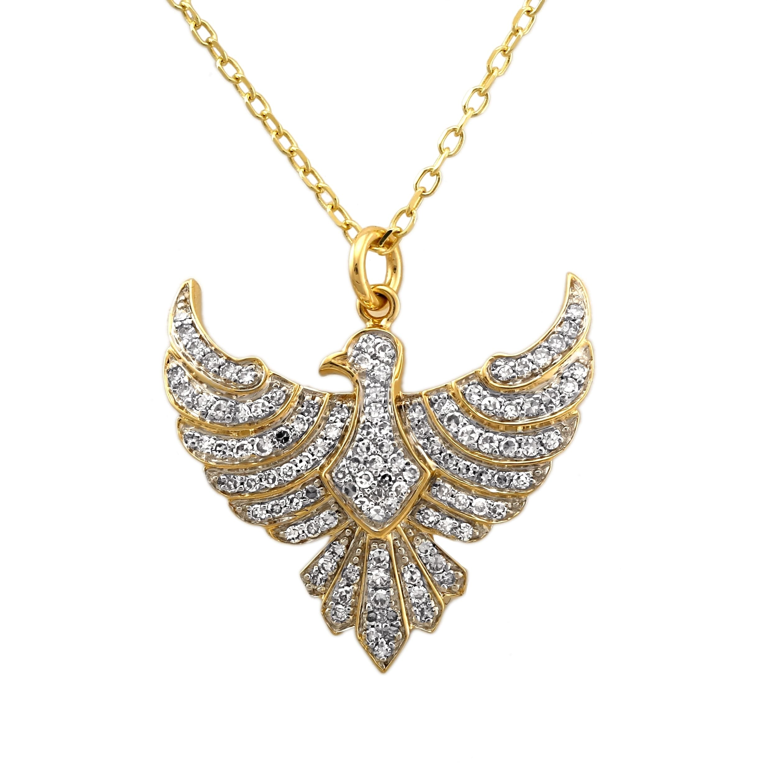 Shop 14k Yellow Gold 1 2ct Tdw Diamond Diamond Eagle Necklace By Beverly Hills Charm Overstock 28877204
