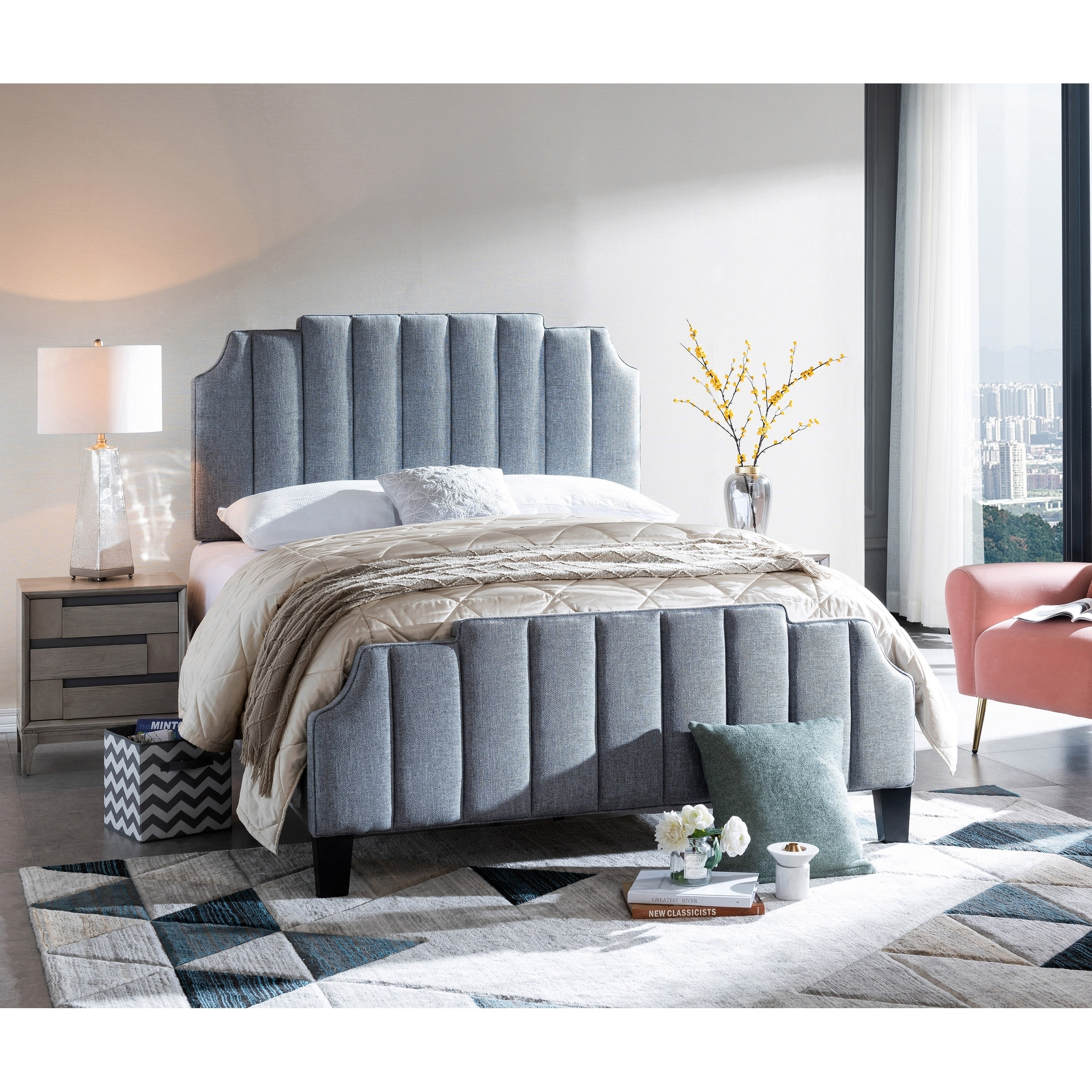 Diana Upholstered Full Channel Tufted Bed in Caviar