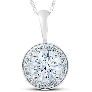1 1 4 Ct Moissanite Diamond Halo Pendant 14k White Gold Womens Necklace