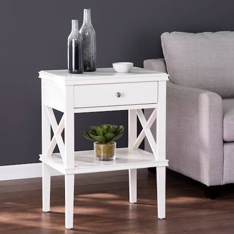 Wexter Transitional White Wood Tall Accent Table
