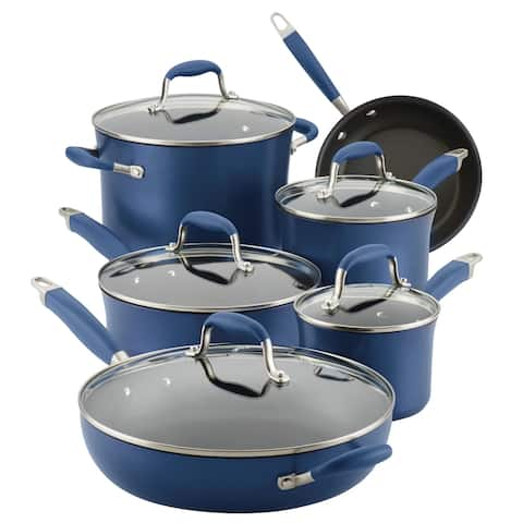 Anolon Advanced Hard-Anodized Nonstick 11-Piece Cookware Set, Indigo