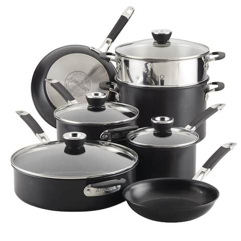 Anolon SmartStack Hard-Anodized Nesting Cookware Set, 11-Piece, Black