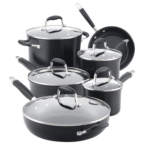 Anolon Advanced Hard-Anodized Nonstick 11-Piece Cookware Set, Onyx