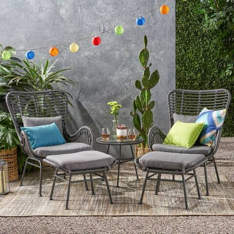 Montana Outdoor 5-piece Wicker Chat Set by Christopher Knight Home
