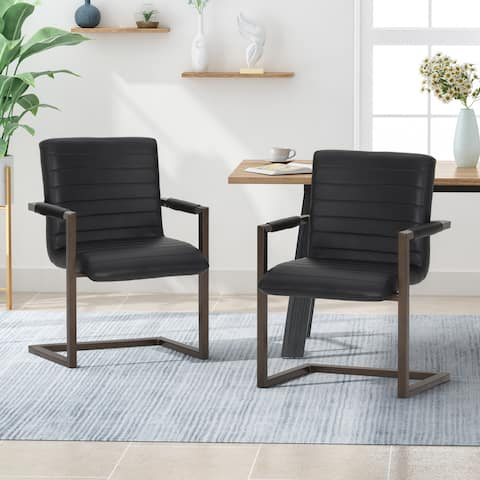 Gambel Modern Faux Leather Arm Chair (Set of 2) by Christopher Knight Home