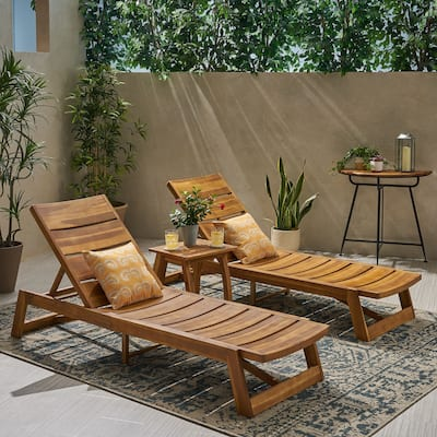 Mahi Outdoor 3 Piece Acacia Wood Chaise Lounge Set by Christopher Knight Home