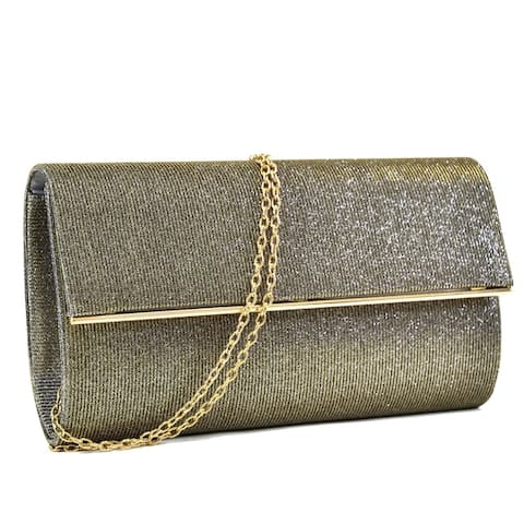 Dasein Glitter Clutch with Removable Chain Strap