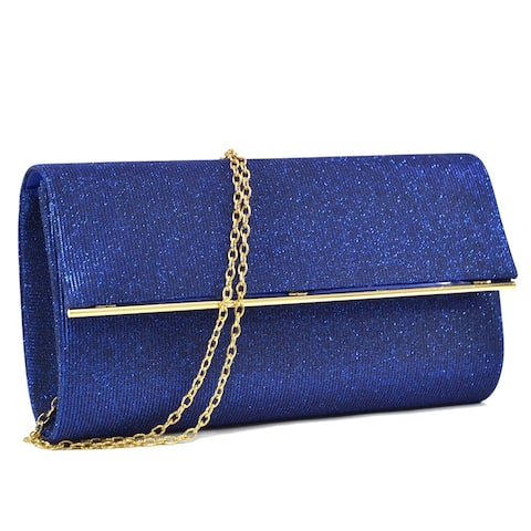 Dasein Glitter Clutch with Removable Chain Strap